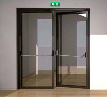 Porte issue de secours industrimat fermetures for Porte vitree standard