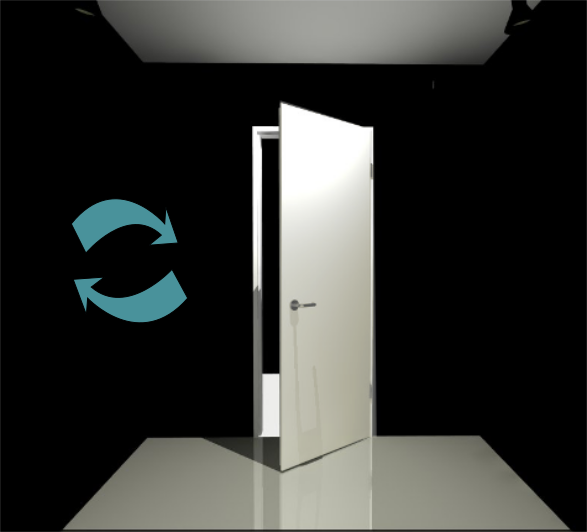 Porte 1 vantail (Réversible) - Pose applique - Blanc perlé