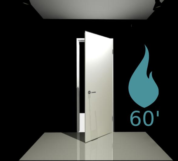 Porte 1 vantail coupe feu 60 min - Pose applique - Blanc perlé