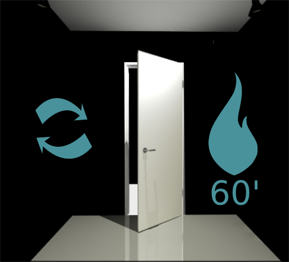 Porte 1 vantail (Réversible) coupe feu 60 min - Pose applique - Blanc perlé