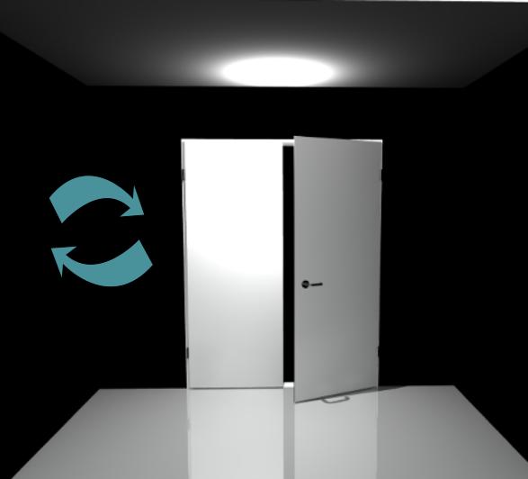 Porte 2 vantaux (Réversible)- Pose applique - Blanc perlé