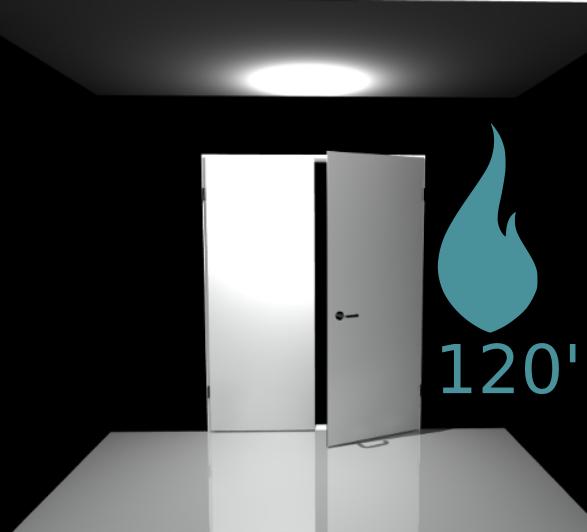 Porte 2 vantaux coupe feu 120 min - Pose applique - Blanc perlé