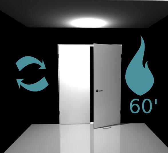 Porte 2 vantaux (Réversible) coupe feu 60 min - Pose applique - Blanc perlé