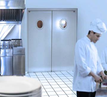 Porte de restaurant industrimat fermetures for Porte va et vient cuisine