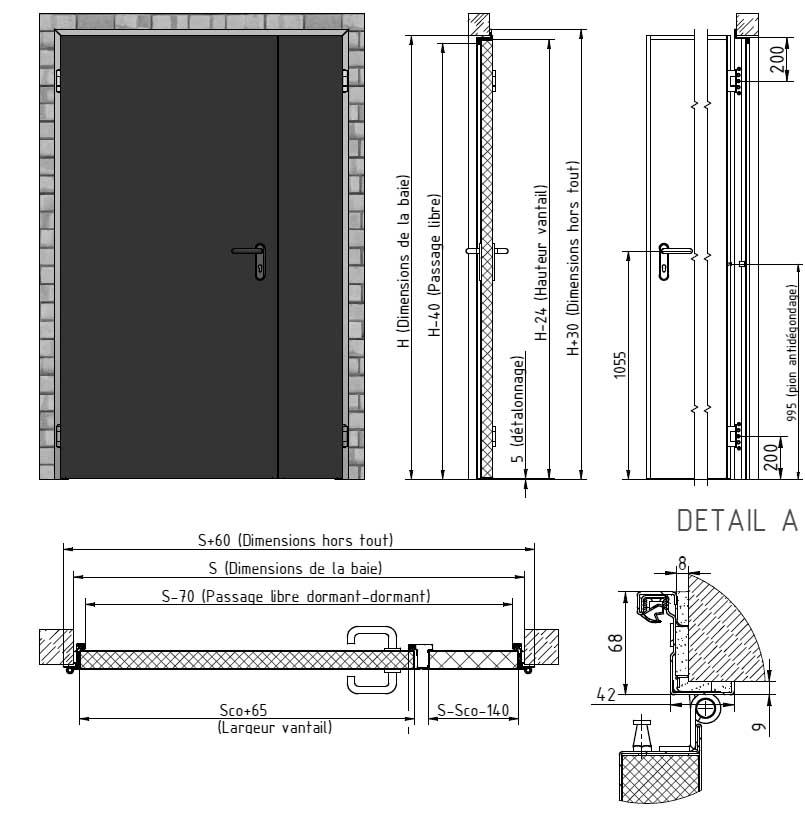 Porte coupe feu 1 2 h industrimat fermetures for Dimension standard porte coupe feu