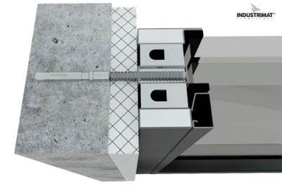 détail fixation chassis vitre coupe feu 120